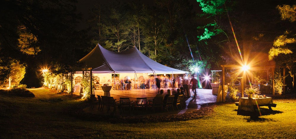 The Wedding Tent at Night at Timberlake Earth Sanctuary