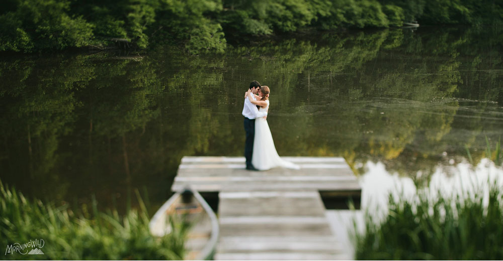 Wedding Couple Kissing at Timberlake Earth Sanctuary